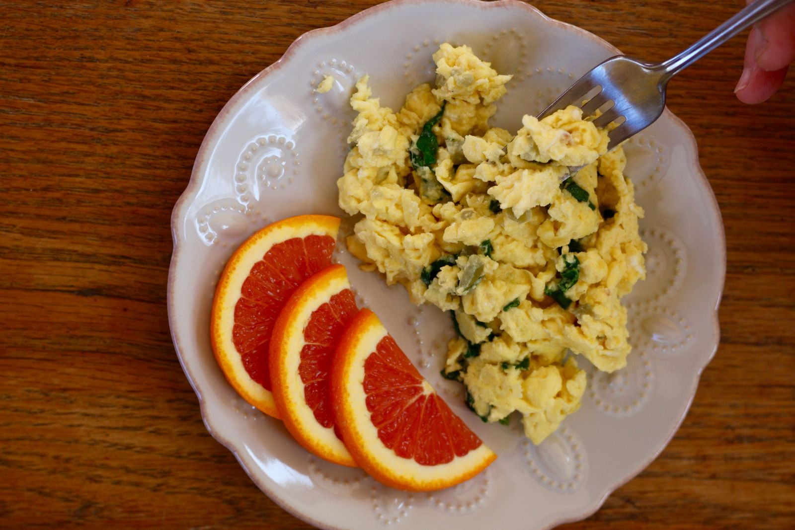 Chicken Breast And Scrambled Eggs With Cheddar Cheese