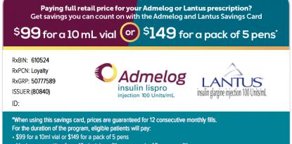 Sanofi insulin savings card